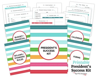 PTA PTO President Success Kit, with form templates, sign up sheets, trackers.  Printable kit for organized president's planner and binder.
