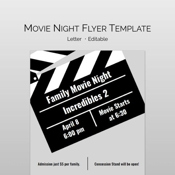 Movie Night Flyer Word Template And Pages For PTA