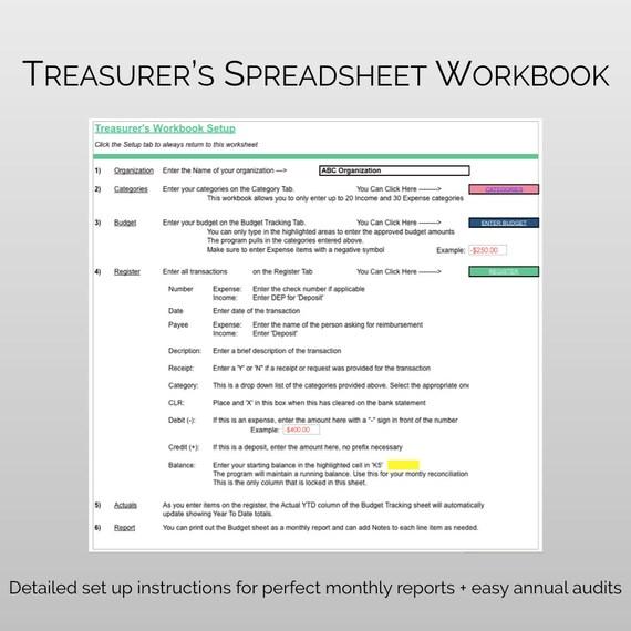 Pta Pto Treasurer S Finance Manager Treasurer Software Etsy