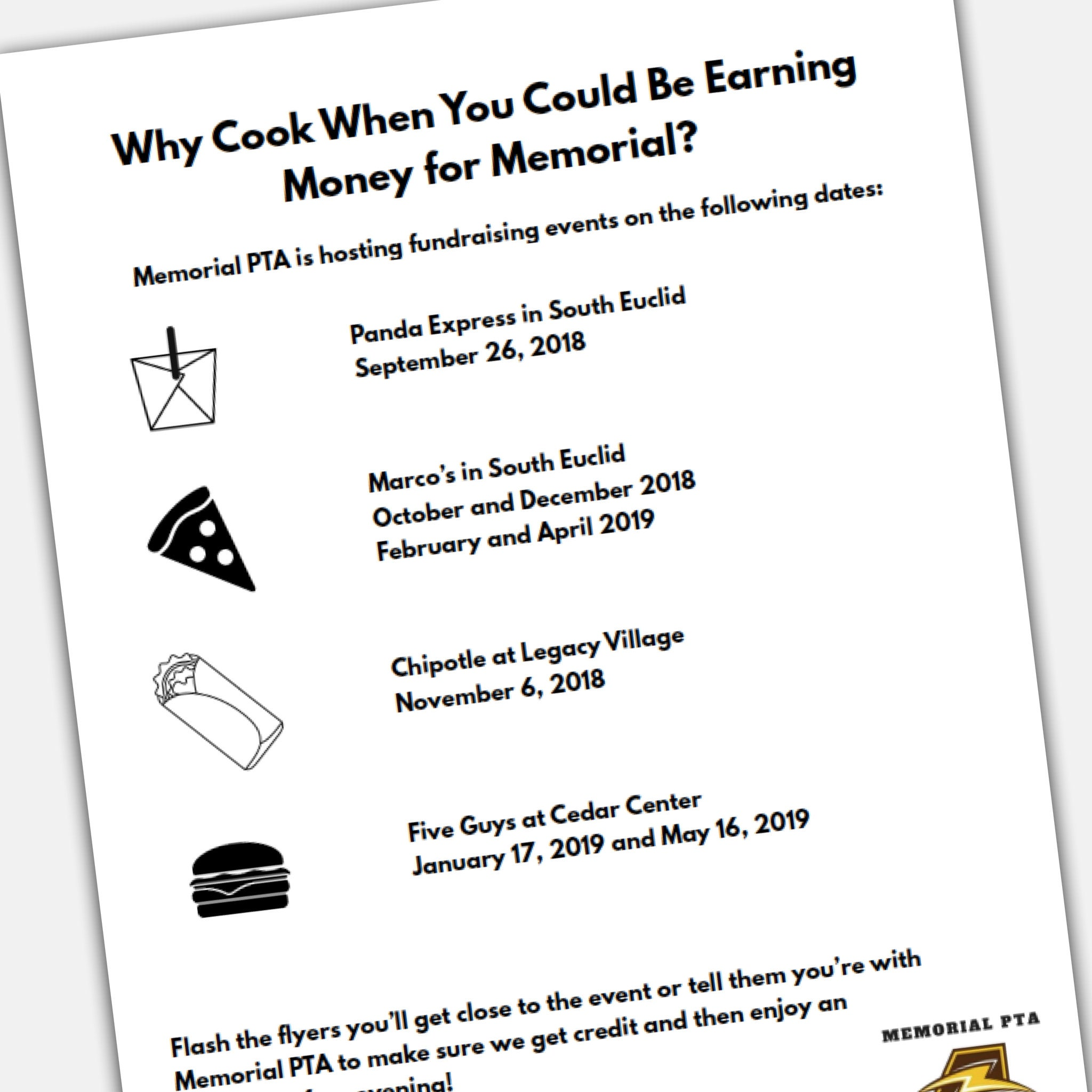 Restaurant Fundraising Night Flyer Template for PTA / PTO : Fully Editable  Flyer Template