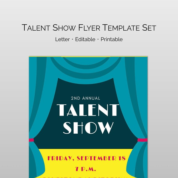 Editable and customizable Talent Show Flyer Word and Pages | Etsy