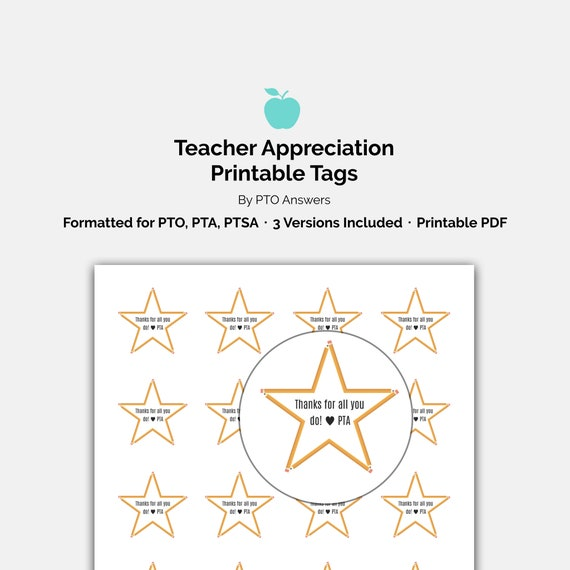 photograph about Teacher Appreciation Printable Tags titled Trainer Appreciation Printable Tags: Star themed Personnel Appreciation Reward, trainer present, college present, printable present tags