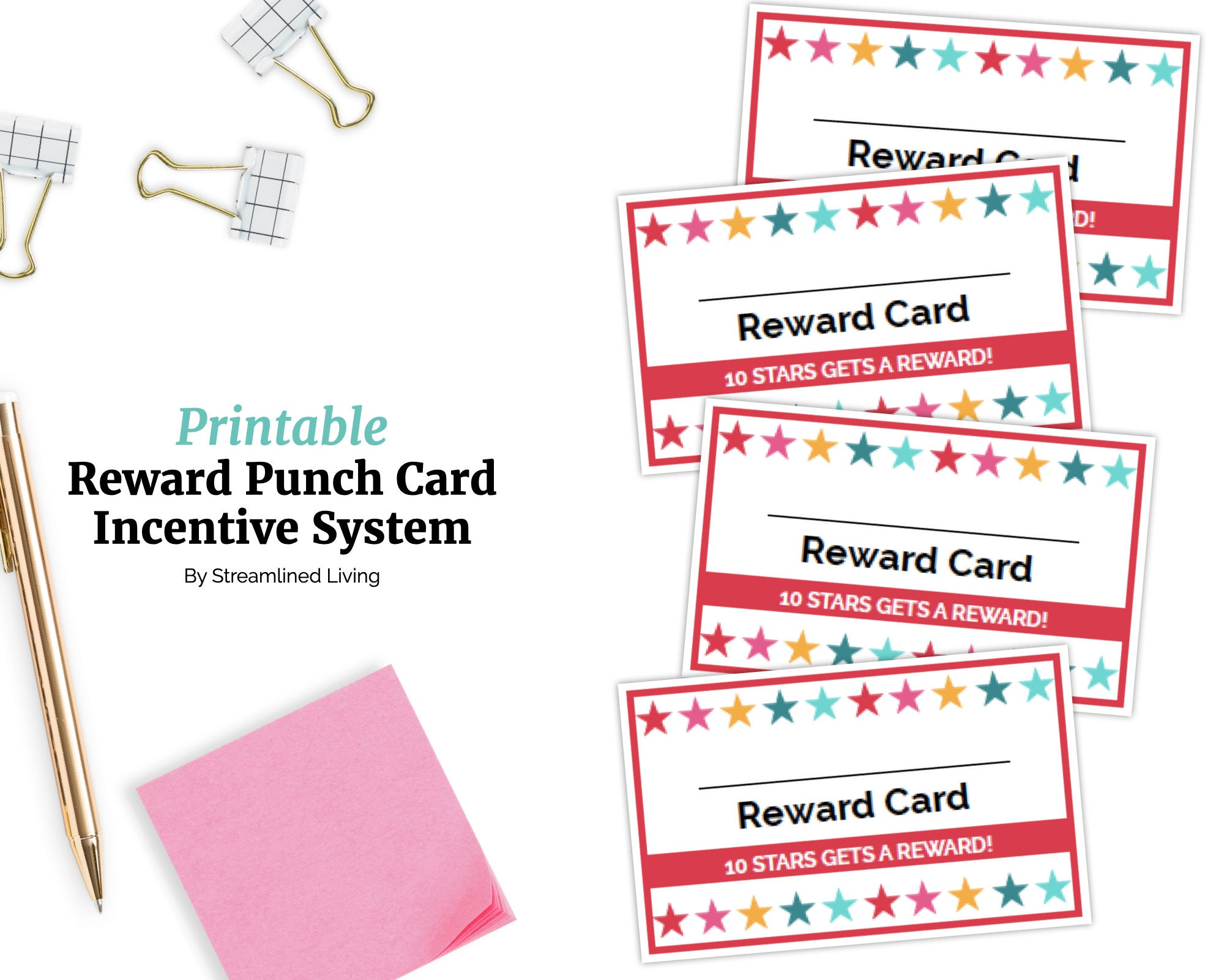 Kids Punch Card Reward System. Printable Chore incentive program to  motivate every kid to do chores at home! Instant download organizer. Within Reward Punch Card Template