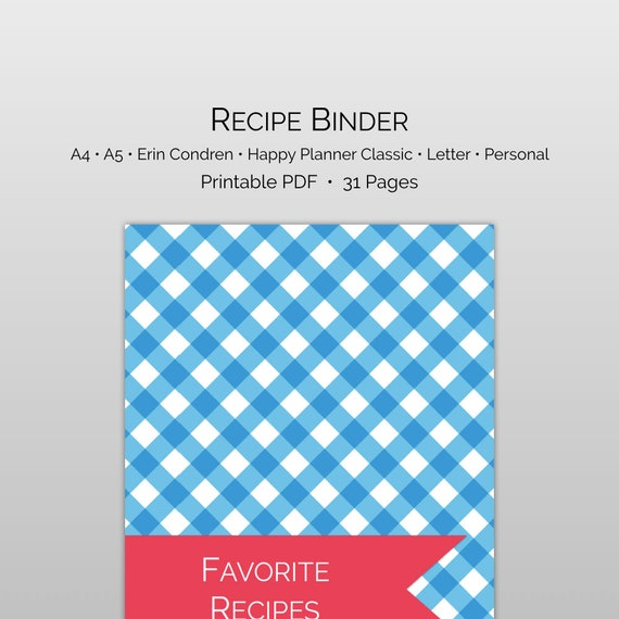 printable recipe binder with recipe category divider pages etsy