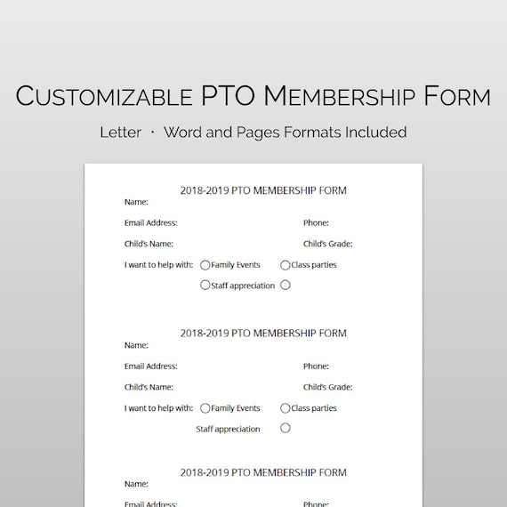 pto membership sign up form in word and pages template fully etsy