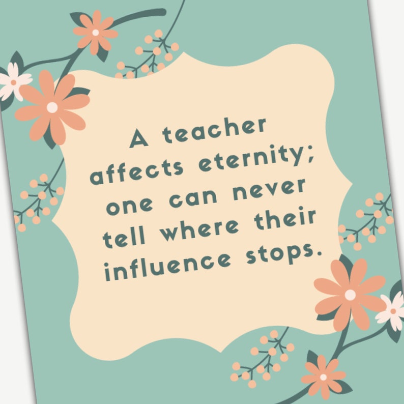 image regarding Printable Teacher Quotes identified as Everlasting Impact Instructor Appreciation Printable Quotation Wall Artwork: Employees Appreciation Reward, trainer reward, college or university reward, cl reward