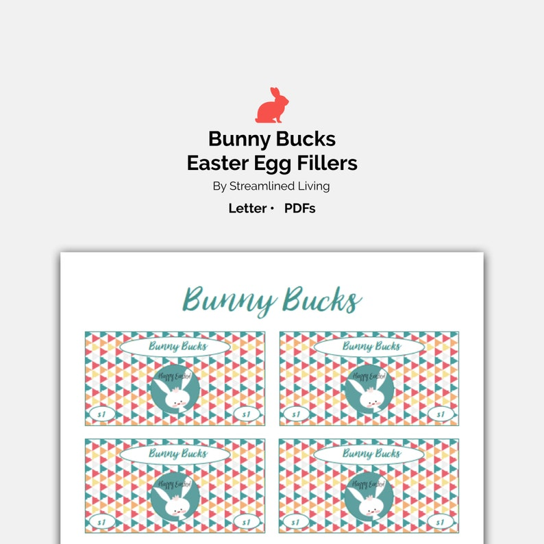 image about Printable Easter Basket named Bunny Dollars Printable Easter Basket Address and Egg Hunt Filler and Sweet Decision Discount coupons for young children, simple Egg Stuffers