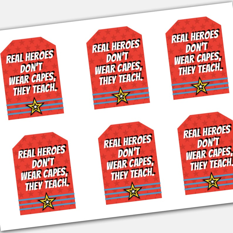 photo relating to Teacher Appreciation Printable Tags referred to as Tremendous Hero Instructor Appreciation Printable Tag Fastened: instructor reward topper, university superheroes tags
