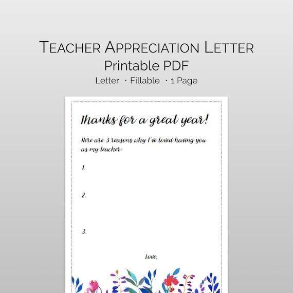 Printable teacher appreciation letter letter to my teacher etsy image 0 altavistaventures Images