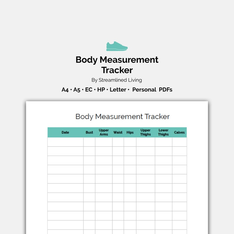 image relating to Printable Body Measurement Tracker referred to as Overall body Size Body weight Reduction Tracker Instantaneous Down load Printable Everyday Wellbeing Planner Add Web site for A4 A5 EC HP Clic Letter + Individual