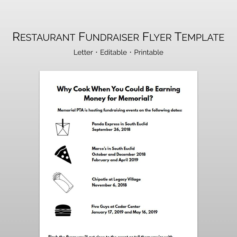 Restaurant Fundraising Night Flyer Template For Pta Pto Etsy