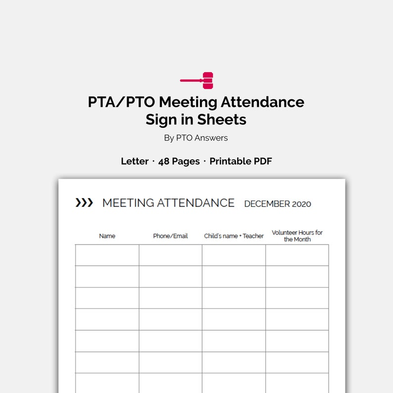 PTO Meeting Attendance Sign In, Volunteer Hour Tracking forms and  attendance sheets for PTA Historians and PTO Volunteer Coordinators