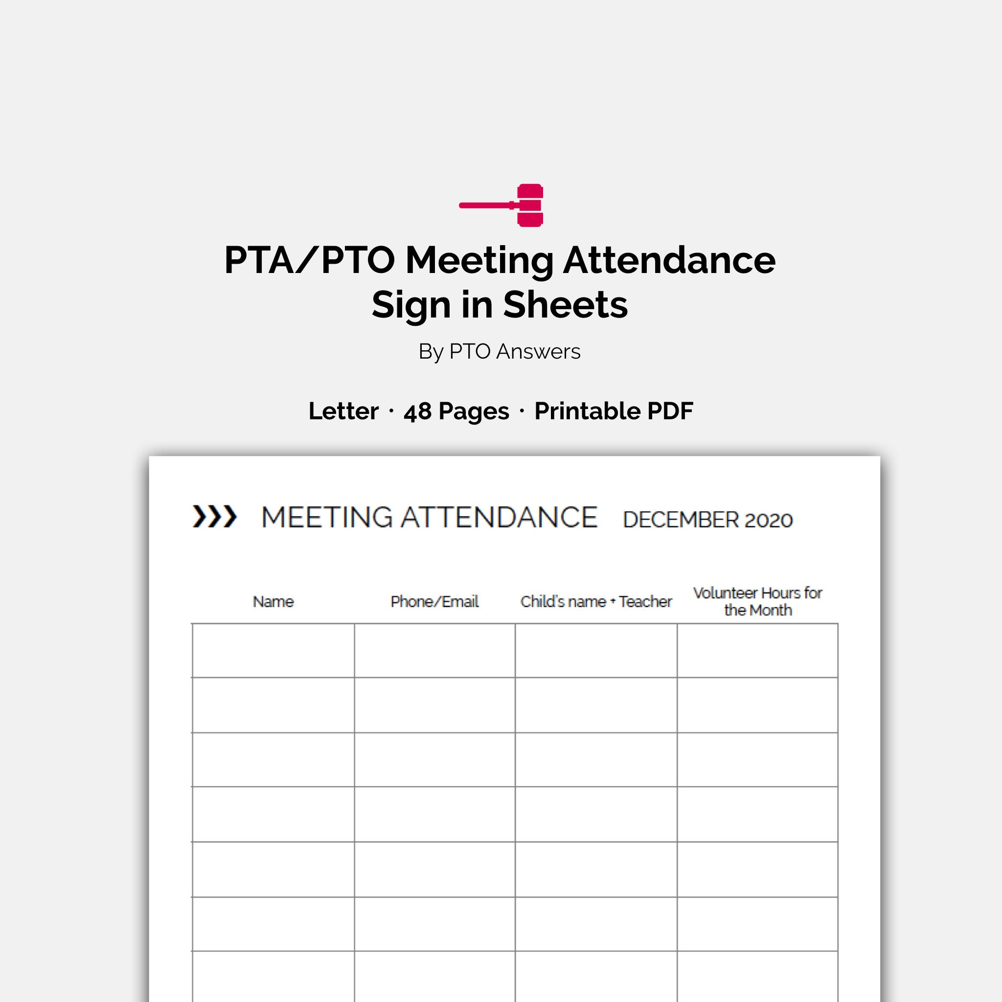 image relating to Free Printable Meeting Sign in Sheet named PTO Convention Attendance Indication Inside, Volunteer Hour Monitoring styles and attendance sheets for PTA Historians and PTO Volunteer Coordinators
