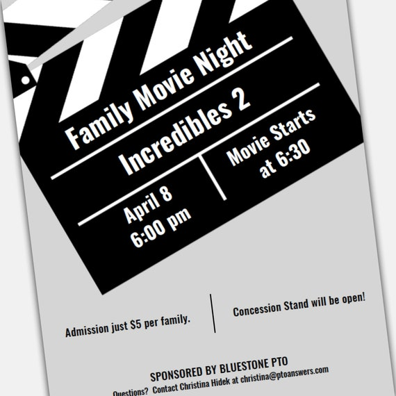 Movie Night Flyer Word Template And Pages Template For Pta Pto Church And Other Groups Diy Template