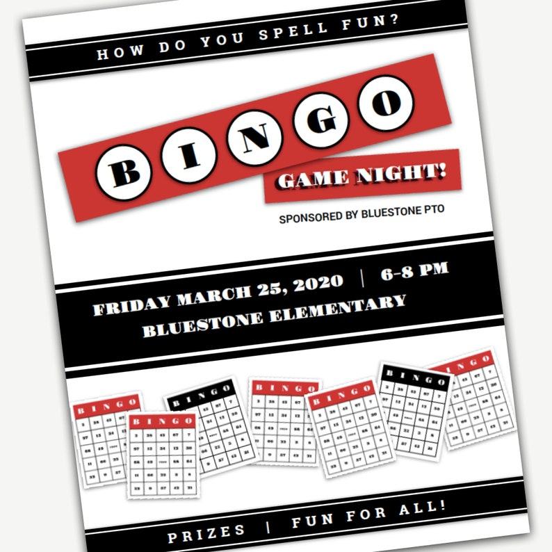 Bingo Night Flyer Word and Pages Template for PTA PTO Church and other groups DIY template Fully editable and customizable
