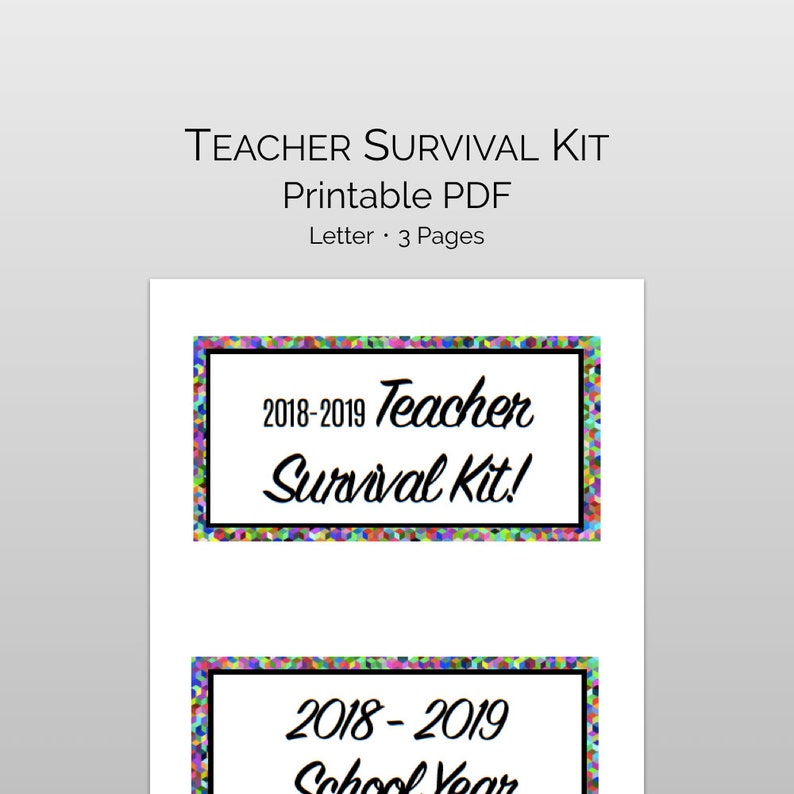 graphic about Teacher Appreciation Printable Tags called Trainer Appreciation Printable Survival Package with Present Tags: fantastic trainer present for commencing of calendar year, and staff members appreciation reward