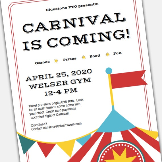 Carnival Template | School Carnival Flyer Template For Pta Pto Editable School Pta Flyer Pto Flyer With Volunteer And Order Form Templates