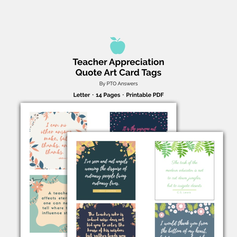 Teacher Appreciation Quote and Heart Touching Sayings Art Card Set for  amazing teachers from PTO PTA or student to say thank you