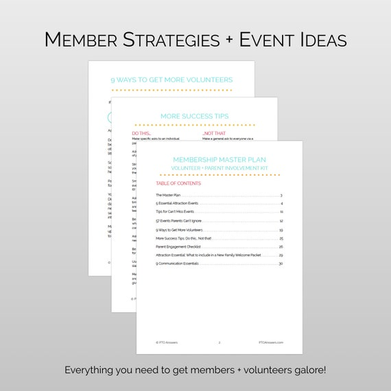 Membership Master Plan And Parent Involvement Kit For Pta Etsy