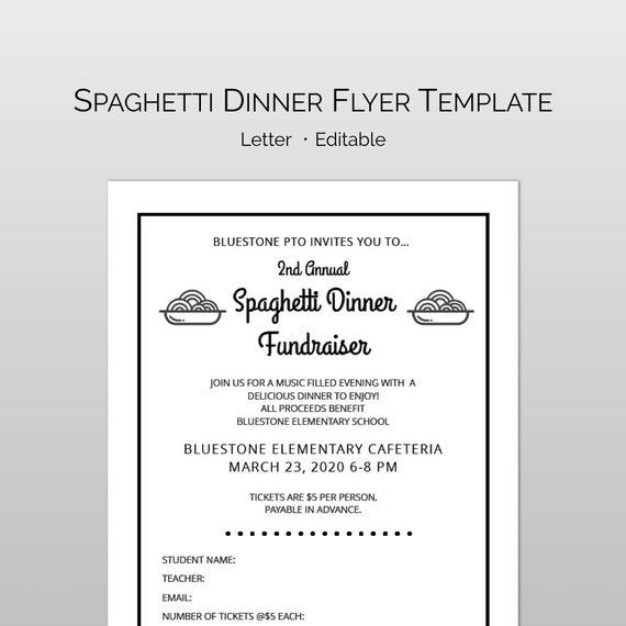 editable customizable spaghetti dinner fundraiser flyer