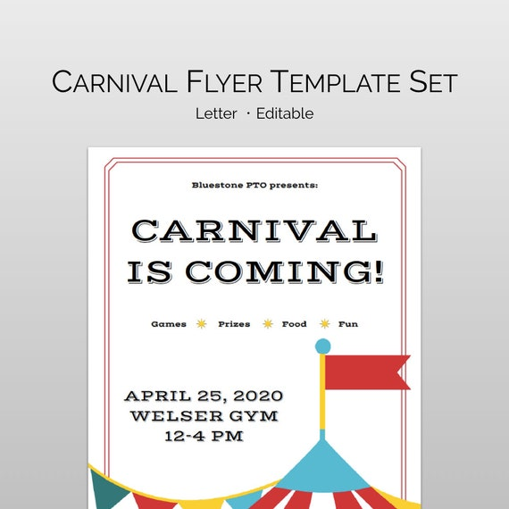 school carnival flyer template for pta pto editable school etsy