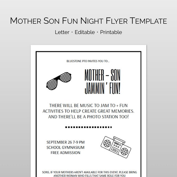Editable Mother Son Dance Word And Pages Flyer Template And Etsy