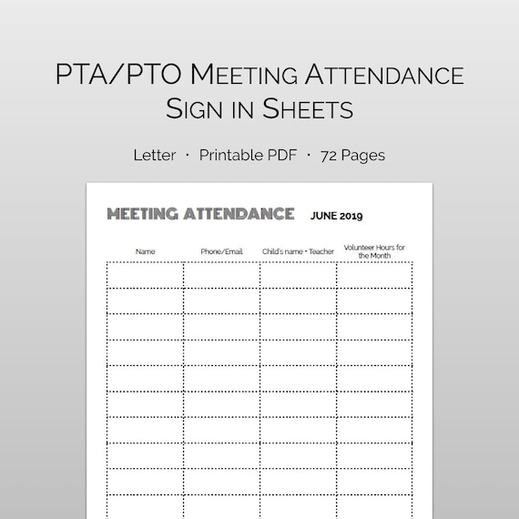 pta meeting sign in sheet template - Hizir kaptanband co