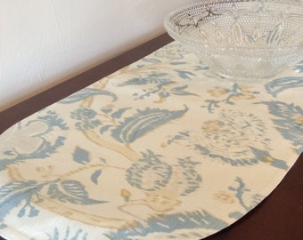 """52""""  Floral Ikat Print Table Runner,  Blue, Cream and Gold Floral Ikat Hand-Printed Linen"""