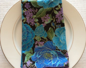 Blue and Violet Floral Napkins Set of 2 - Floral Table Linens - Print Reversible Cloth Napkins - Floral Cloth Napkins