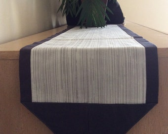 Grey Stripes Table Runner-Charcoal and Grey Dresser Scarf - Grey Table Runner with Charcoal Border