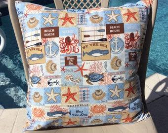 Seashore Pillow Cover 16x16 -  Tropical Pillow Cover - Nautical Pillow Cover - Beach themed Pillow Cover