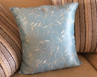 16 x 16 Soft Aqua Textured Pillow Cover, Linen look Pillow Cover, Aqua Pillow Cover, Metallic Pillow Cover