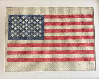 Vintage Look Hand Stitched American Flag