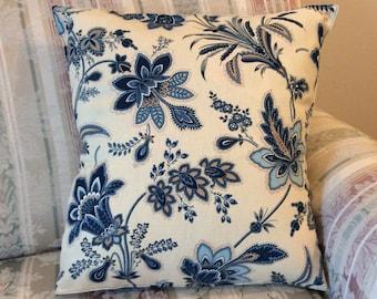 16x16 Blue Floral Pillow Cover, Floral Home Decor, Blue Floral Toss Pillow Cover, Floral Throw Pillow Cover, Bold Floral