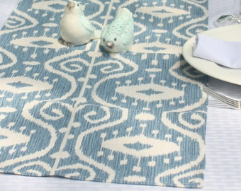 """40""""  Ikat Print Table Runner, Cream and Wedgewood Blue Coffee Table Runner, Washed Denim Home Decor, Ikat Fabric, Linens"""