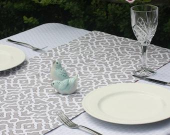 "Trellis Print Table Runner - 34"" Reversible Table Runner - Grey/White Table Runner - Rust/Off White Runner -  Geometric Table Linens"