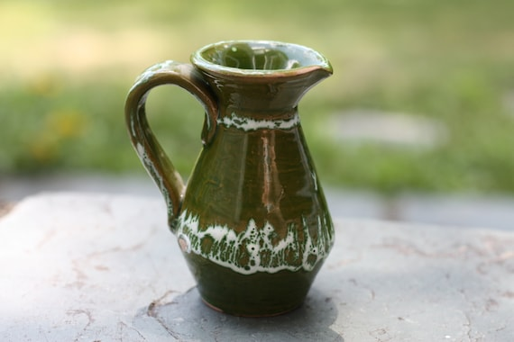 Vintage Green Vase Green And White Mini Pitcher Small Jug Etsy