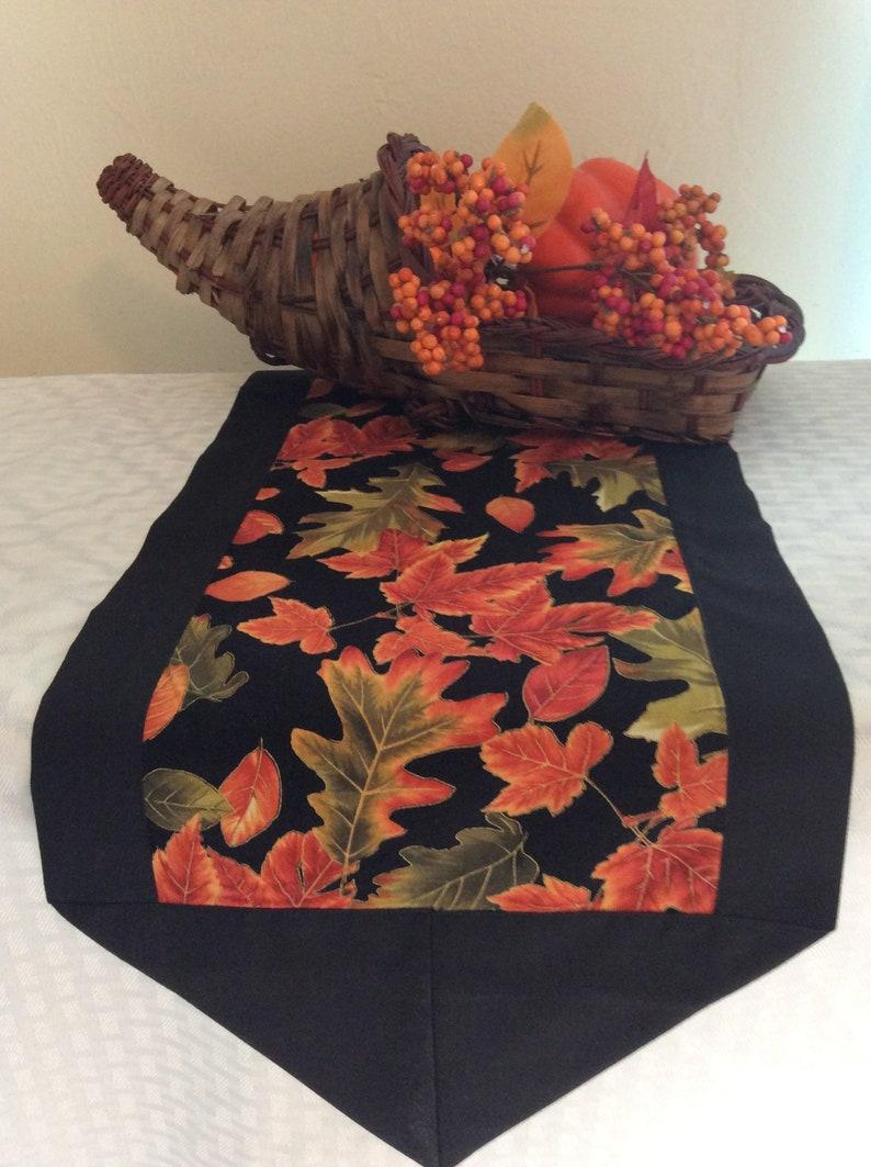 Fall leaves table runner Thanksgiving table runner long image 0