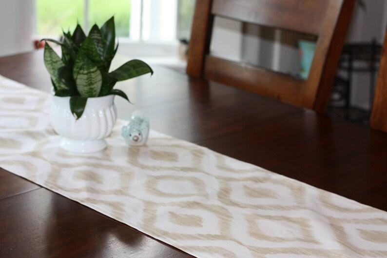 Tan Ikat Table Runner Short Table Runner Buffet Scarf Animal print runner Dresser Scarf