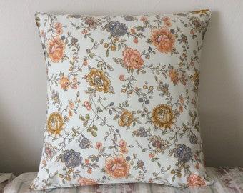 18 x 18 Vintage Floral Pillow Cover