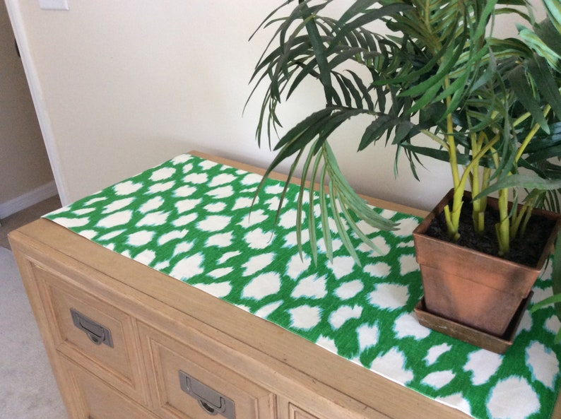 Bright Green Animal Print Table Runner   52  Lush Green image 0