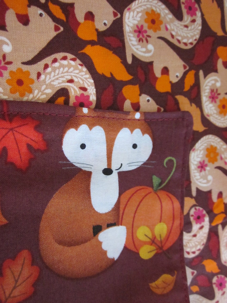 Fox and Fruit Table Runner Squirrel Table Runner Fall Coffee image 0