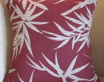 16x16 Tropical Pillow Cover, Rust Pillow Cover, Toss Pillow Cover, Tropical Leaves Pillow Cover