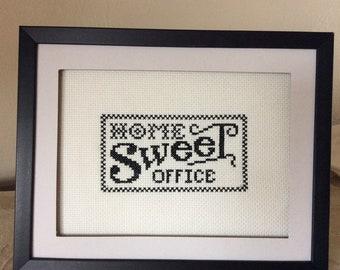 Framed Home Sweet Office Cross Stitch