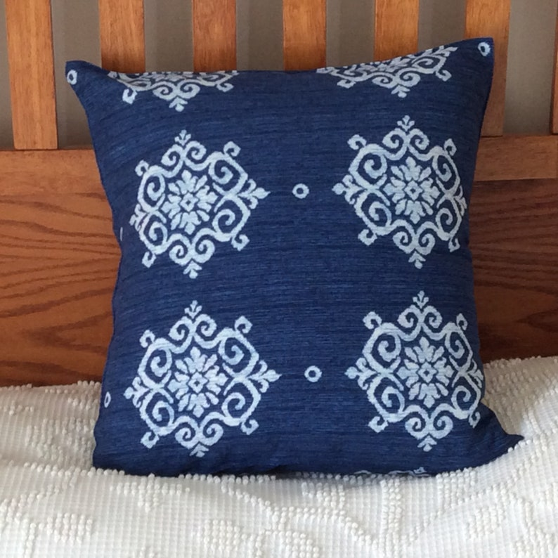 16x16 Blue Denim Ikat Pillow Cover Washed Denim Home Decor image 0