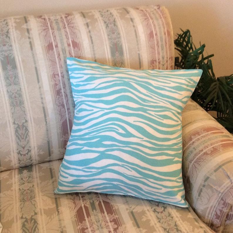 16x16 Teal Zebra Print Pillow Cover  Teal Animal Print Pillow image 0