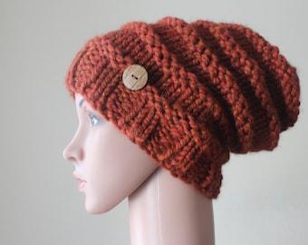 24d61c514db9cc Bronx/Slouchy/Beehive/Bonnet/Rust/Button/Acrylic-Wool /Stylish/Warm/Women-Teens/Handknit/Handmade/Gift/Accessories