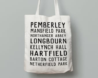 Jane Austen Places Tote Bag- Book bag, pemberley, pride and prejudice, mansfield park, bookworm, book lover, library bag