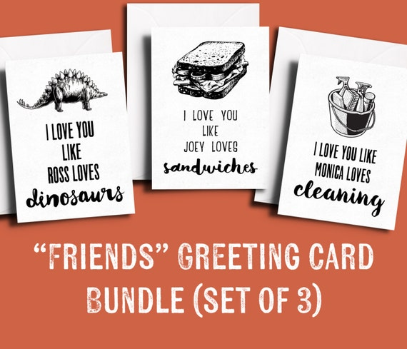 Friends tv show greeting card bundle pack of 3 friends themed etsy image 0 m4hsunfo