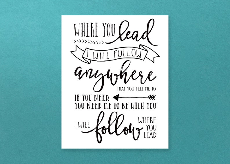 Gilmore Girls Poster Where You Lead Lyrics DIGITAL Print image 0
